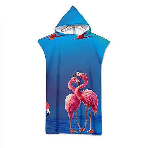 Hooded Poncho, DOTBUY Bunter Flamingo 3D Drucken Mikrofaser Strandtücher Bademantel Poncho mit Kapuzen Strandtuch Badeponcho Duschtuch Sport Handtuch für Schwimmen (75 * 140cm,E)