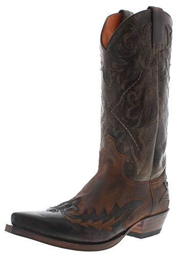 Sendra Boots Herren Cowboy Stiefel 9669 Westerntstiefel Lederstiefel Herrenstiefel Braun 46 EU
