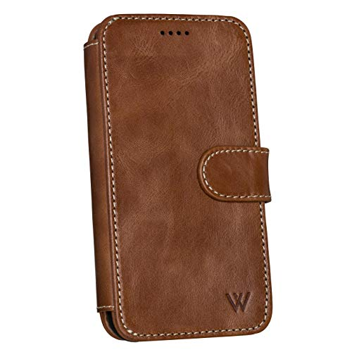 Wilken iPhone 6/7/8/SE Leather Wallet with Detachable Magnetic Phone Case | Wireless Charging Compatible with iPhone 8 | Genuine Leather | Wilken iPhone SE/8/7/6 Magnetic Wallet Case | Brown