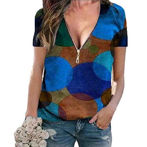 SLYZ Blusa De Camiseta De Manga Corta con Cuello En V Y Cremallera con Estampado De Lunares De Moda De Verano para Damas Europeas Y Americanas