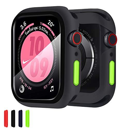 Qianyou per Apple Watch 44mm Series 6/SE/5/4 Cover Silicone+Protezione Schermo Vetro, TPU Custodia Protettiva in Vetro Temperato Integrata, Case 360° Ultra Sottile Bumper Protettivo per iWatch 44mm