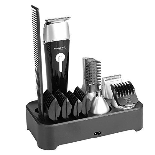 Sminiker 5 in 1 Grooming Kit Impermeabile Tagliacapelli Professionale Uomo, Doppio Rasoio per Corpo, per Peli del Naso, per Barba, Regolatore Capelli, Trimmer Ricaricabile di Precisione