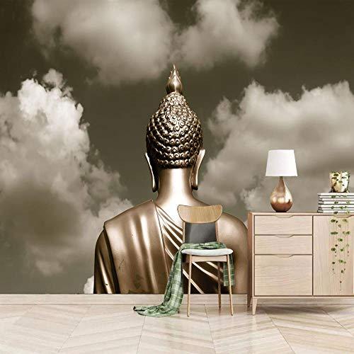 QHDHGR Fototapete 3D Effekt Tapete Grau & Buddha Statue Moderne Wandtapete Murals Fototapete 3D Tapete Effekt Vlies Wandbild Schlafzimmer Poster Dekoration B250 X H175 CM