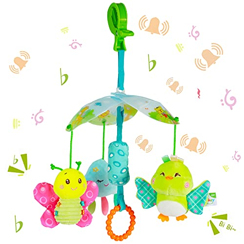 Funsland BabyToys for Toddlers Clip On Car SeatToy and BabyStroller Toy with Hanging Rattle for Infants SensoryToys...