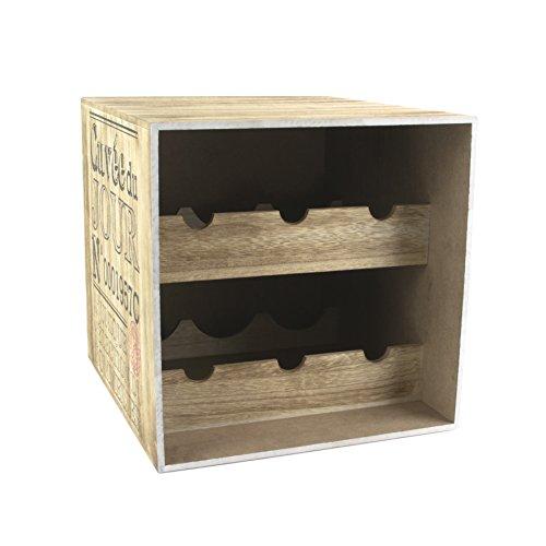 Totally Addict KV7210 Porte - Bouteilles Caisse de vin 6, 30 x 33 x 30 cm, marr n/Negro