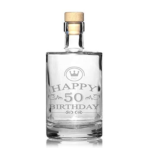 foryou24 Nobele whiskey-karaf met gravure van Happy Birthday, gegraveerd, cadeau-idee
