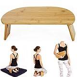QHW Meditation Stool, Portable Oblique Leg Folding Meditation Stool, Ergonomic Yoga Kneeling Stool, Bamboo Booster seat, Suitable for Yoga, Meditation, Prayer, Seiza, Children