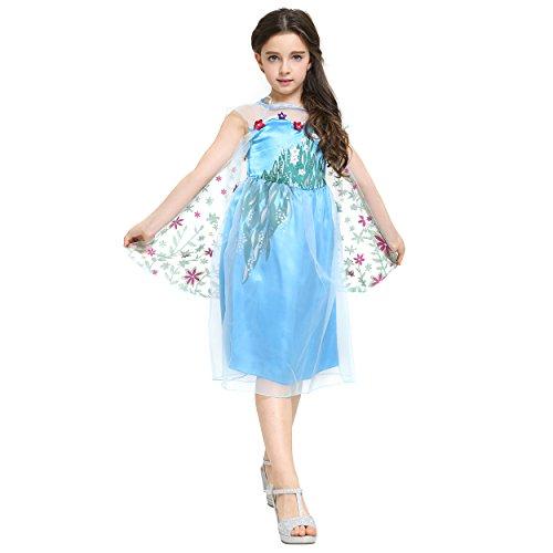 Katara - Vestido azul con flores, de Princesa Elsa de Frozen Fever, para niñas de 2 y 3...