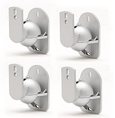 TechSol 4 Pack of Universal Silver Speaker Wall Mount Swivel and Tilt Brackets Complete with Fitting Hardware from Techsol