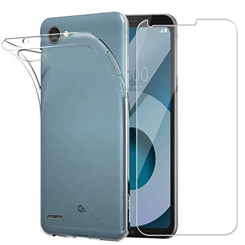 """compatibile per LG Q6 / (G6 MINI) / Q6 PLUS / M700A M700TV M700DSN 5.5"""" Custodia Cover Case Soft Slim Gel Silicone Morbida TPU + Pellicola Vetro TEMPERATO 9H Antiurto (Trasparente)"""
