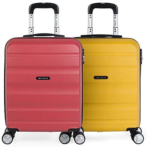 ITACA - Set 2 Maletas Pequeñas para Viaje en Pareja. Rígidas 4 Ruedas 55x40x20 cm Cabina Trolley ABS. Equipaje de Mano. Cómodas y Ligeras. Ryanair. Calidad y Diseño. T71650P, Color Coral/Mostaza