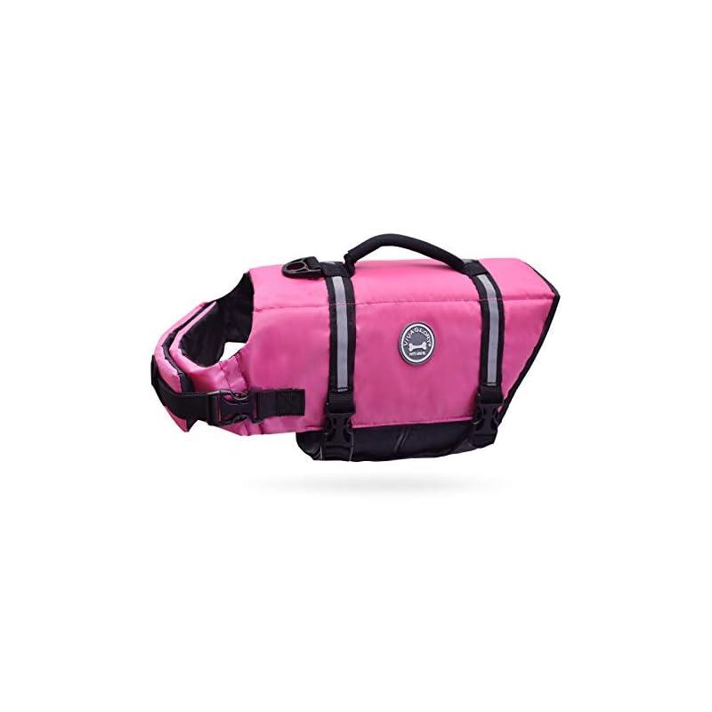 dog supplies online vivaglory ripstop dog life jacket, reflective & adjustable preserver vest with enhanced buoyancy & rescue handle, pink, l
