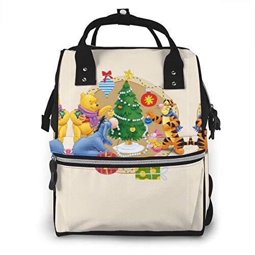 Sac à Langer Sac à Dos - Winnie l'ourson et Ses Amis Noël Multifonction étanche Voyage Sac à Dos maternité bébé Nappe Sacs à Langer