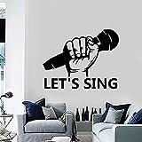 Calcomanía de pared Micrófono Karaoke Ktv Arte Musical Decoración Vinilo Ventana Pegatinas de vidrio Mural extraíble