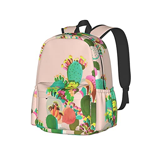 JZDACH Boys Grils Daypack Back to School - Wilder California Prickly Pear Cactus Pink Bookbag College School Bookbag Travel Hiking Bag & Day Pack, Gym Outdoor Hiking Bag Laptop Backpack Daypack