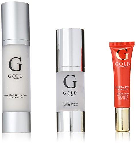 GOLD SERUMS Coffret Anti-Age Sérum Nutrition Instense A-C-D-E + Crème Hydratante/Soin Contour des Yeux Ultra Ravive 3 Bouteilles de 100 ml