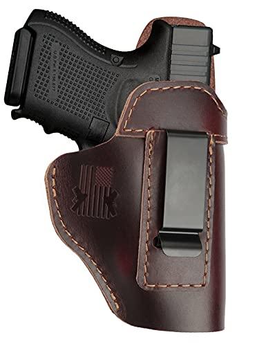 Leather Holster for Glock 17 19 - Taurus G2C G3 G3C - M&P Shield EZ - Plus Similar Size IWB Right Hand