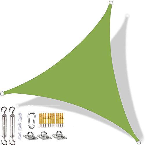 YAOYI Toldo triangular de vela con protección solar impermeable, protección UV, para exteriores, terraza, patio, con kit de fijación y cuerda (3 x 4 x 5 m), color verde