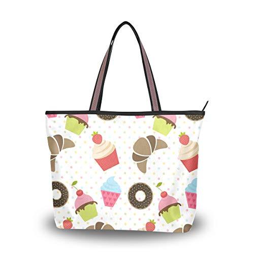 Mnsruu Bolso de mano con cremallera para mujer, grande en la parte superior, bolsa de la compra casual, L (taza de pastel donuts chocolate), color, talla Medium