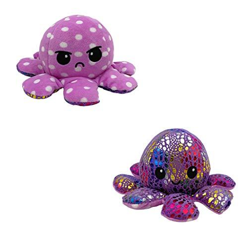 PEGONE Optopus Lindo muñeco de pulpo reversible de doble cara de felpa súper suave Un excelente regalo para niños, parejas y familiares