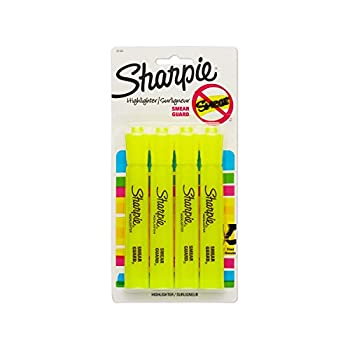 Sharpie Tank Style Highlighters Chisel Tip Fluorescent Yellow 4 Count