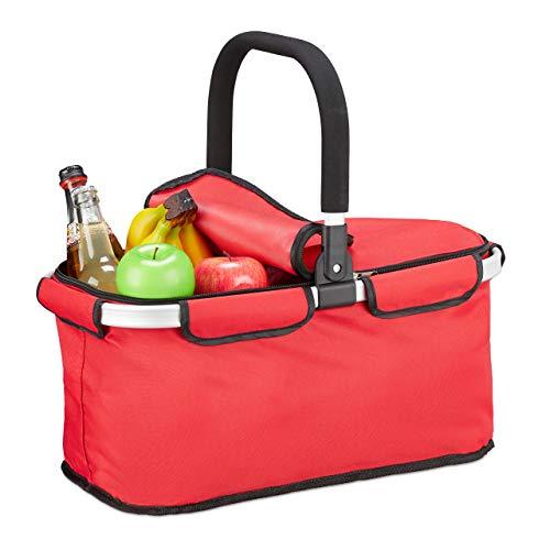 Relaxdays Einkaufskorb faltbar, mit Deckel, Tragekorb mit Henkel, 25 L, Polyester, Faltkorb mit Reißverschluss, rot