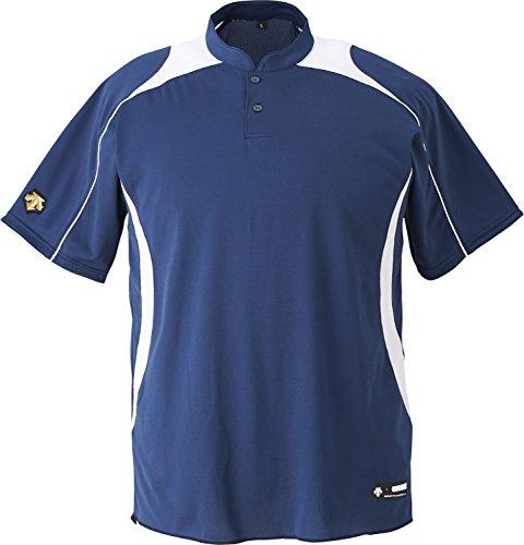 DESCENTE(デサント) 野球 ジュニア 立衿2ボタンベースボールシャツ ネイビー×ホワイト 150cm JDB110B