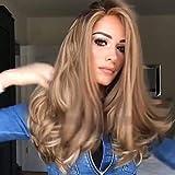 Beste synthetische dunkelblonde Lange lockige Perücken natürliche Welle realistisch aussehende natürliche gewellt für Frauen hohe Qualität Perücke mit freie Perücke Kappe