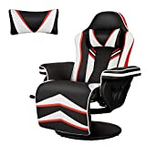 YODOLLA Gaming Chair Recliner Racing Chair with Vibration Massage Function, Ergonomic Adjustable Backrest and Footrest Swivel Faux Leather Computer Office Chair with Cup Holder and Side Pocket, White