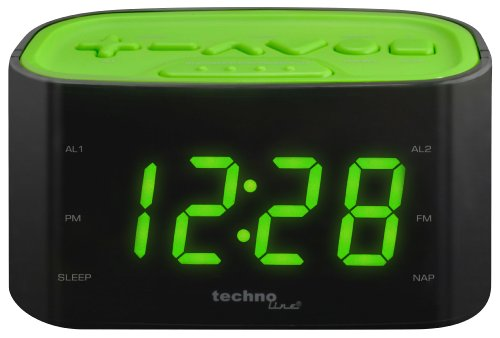Technoline WT 465 LED Radiowecker mit Tasten im Play-Controller Design, grün