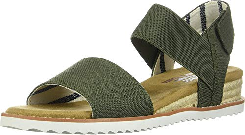 Skechers Desert Kiss-Poppy Bloom, Sandali con Cinturino alla Caviglia Donna, Verde (Olive Canvas Old), 40 EU