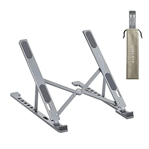 Foldable Aluminum Laptop Holder for Desk Bed Table Floor, Ergonomic Multiple Portable Adjustable Notebook Computer Laptop Stand for Home Office - Gray