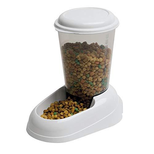 Ferplast Dispensador de Comida Seca o croquetas para Perros y Gatos 3 litros Zenith, Depósito Transparente con Tapa, Base Antideslizante, 20,2 x 29,2 x h 28,8 cm Blanco ✅