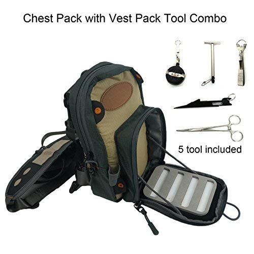 Aventik Fly Fishing Chest Bag Ultra Light Multiple Pockets Chest Pack with Vest Pack Tool Combo A