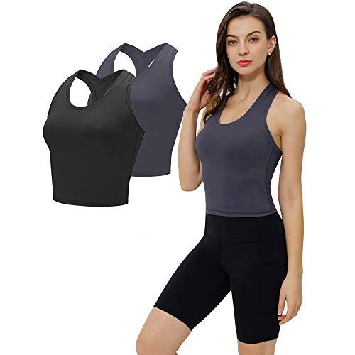 Camiseta Sin Manga Top Deportivo Mujer Fitness Elegante Camiseta Tirantes Running Ropa...