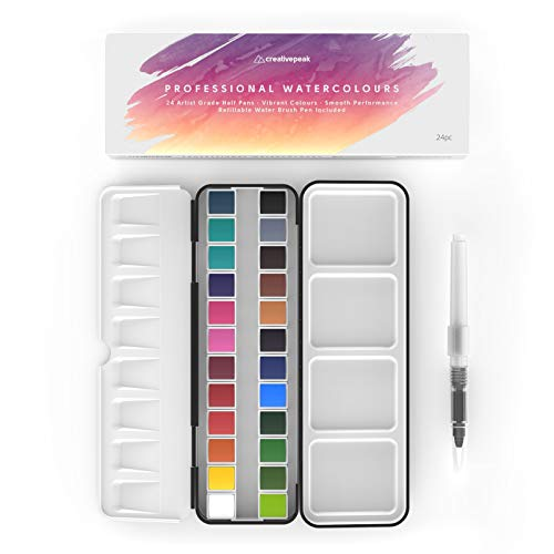 Watercolor Paint Set - 24 Vibrant Pans, 1 Blending Brush & Swatch Card - Professional Art Supplies - Portable Artist Travel Tin & Mixing Palette, Perfect For Painting & Calligraphy - Creativepeak™