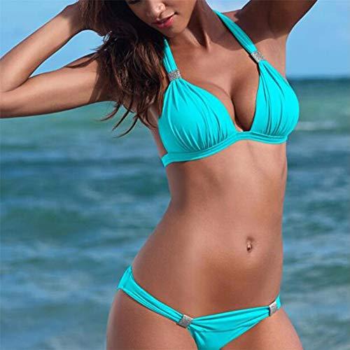 Vrouwen Badpak Bikini Set, Dames Push Up Bandage Badmode Sexy Beach Bikini Suit Grote Maat,Blue,S