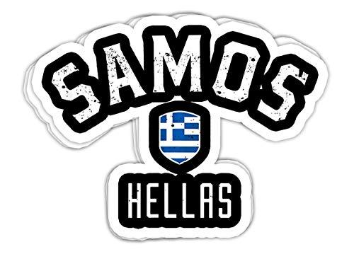 Samos Griechenland – Samos Hellas – Vinyl-Aufkleber, Laptop-Aufkleber, Wasserflaschen-Aufkleber (3er-Set)