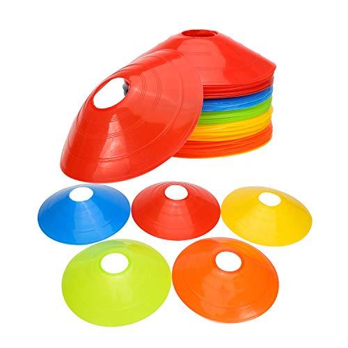 Disc Cone Set de 50 conos flexibles multicolores, ideal para entrenamiento de agilidad, fútbol, baloncesto, fútbol, hockey, correr, cualquier juego de pelota para marcar – brillante pero no distrae