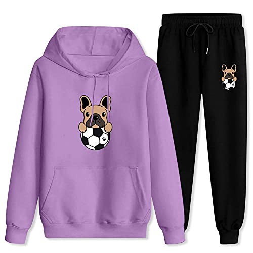 Jsmllia Men's Tracksuit French Bulldog Hoodie Sweatpants,3D Print Pullover Hoodie for Men with Pockets Large Purple and Black