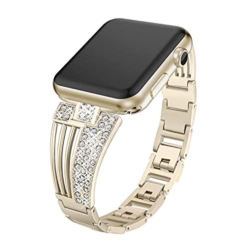 Correa de pulsera de diamantes para mujer para Apple Watch 38/40/42/44 mm Correa de acero inoxidable para iWatch SE 6 5 4 3 2 1-Retro-dorado, 40 mm