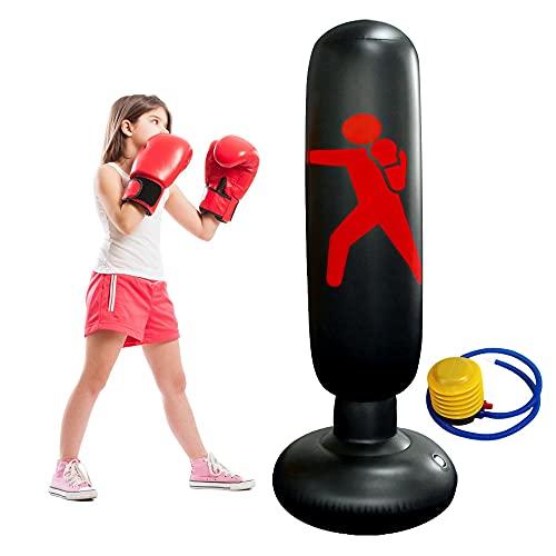 Saco Hinchable de Boxeo 160cm Bolsa Autoestable de Boxeo de pie Rebote Inmediato para Niños Adultos Entrenamiento Físico en Casa Equipo de Boxeo con Bomba de pie Negro