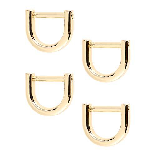 Artibetter d-ringe schraube in schäkel hufeisen u form d ring diy leder handwerk geldbörse schlüsselbund zubehör für gurt 4 stücke (gold)
