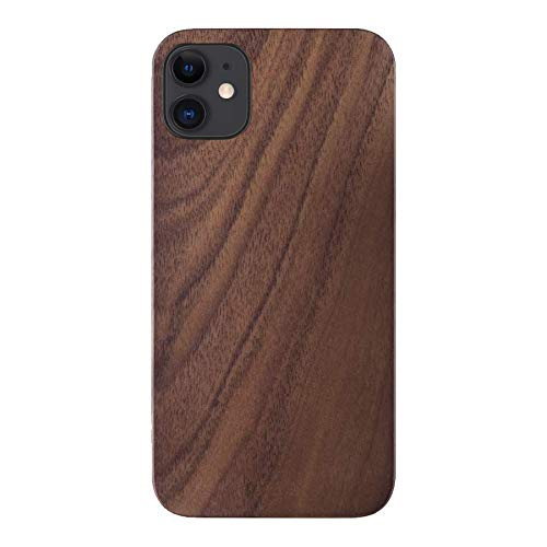 iATO Wood Case for iPhone 12. Unique & Classy Open Top & Bottom Minimalistic Real Natural Walnut Wood Case Designed for iPhone 12. Wooden Case Compatible with New 2020 iPhone 12 6.1-inch