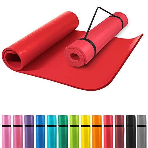 GORILLA SPORTS® Yogamatte mit Tragegurt 190 x 60 x 1,5 cm rutschfest u. phthalatfrei – Gymnastik-Matte für Fitness, Pilates u. Yoga in Rot