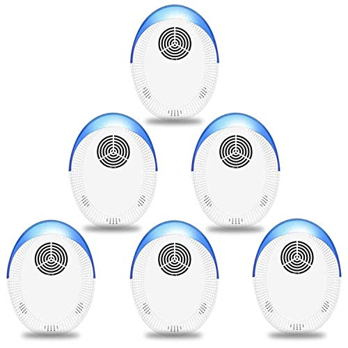 Ultrasonic Pest Repeller, 6 Packs, 2020 Upgraded, Indoor Electronic and Ultrasonic Pest Repeller for Mosquitoes, Roaches, Flea, Mice, Spiders, Ants, Humans & Pets Safe - Effective Pest Defender