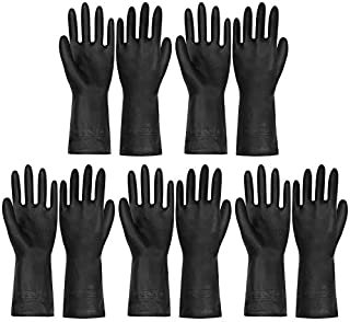 KKD Reusable Household Cleaning Gloves, 5 Pair of PVC Dishwashing Gloves Heavy Duty Work Gloves with Anti-Slip Pattern Design for Housework, Pet Bathing, Bathroom, and Outdoor Works (Black)