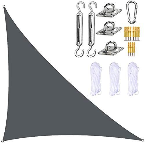 Parasol triangular para velas de jardín con kit de fijación, toldo para velas de jardín, 3 cuerdas, bloque UV e impermeable, toldos para sombrillas de jardín para patios(4m x 4m x 5.7m,Deep Grey)