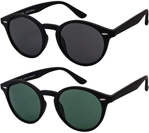 Sonnenbrille Herren Damen La Optica UV400 CAT 3 Retro Vintage Hippie Rund Round - Set Gummiert Schwarz (1 x Grau, 1 x Grün)