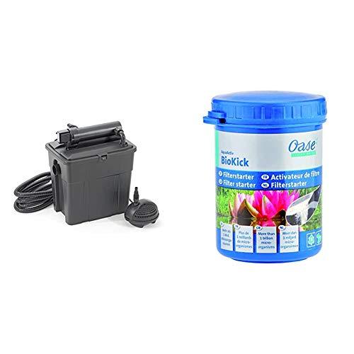 Pontec MultiClear Set 8000 Teichfilter & Oase Starterbakterien AquaActiv BioKick, 100 ml